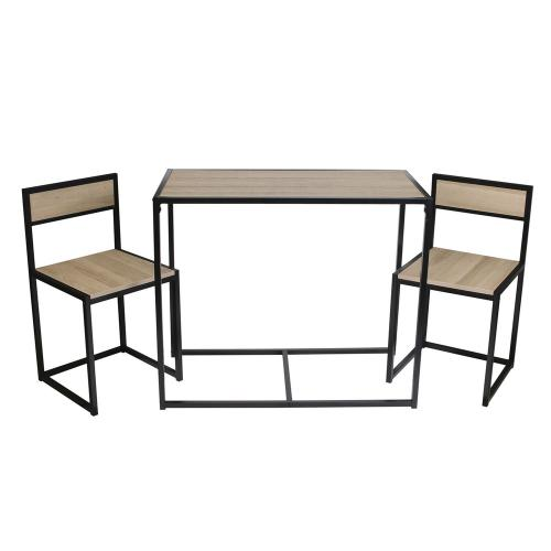 3S. x Home - Ensemble Table + 2 Chaises Noir et Bois - Table