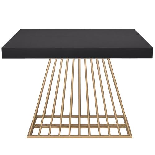3S. x Home - Table extensible Bois Noir EXTENSO - Table