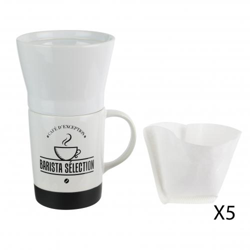 3S. x Home - Mug barista porte filtre et filtre x 5 330ml HADEN - Arts de la table