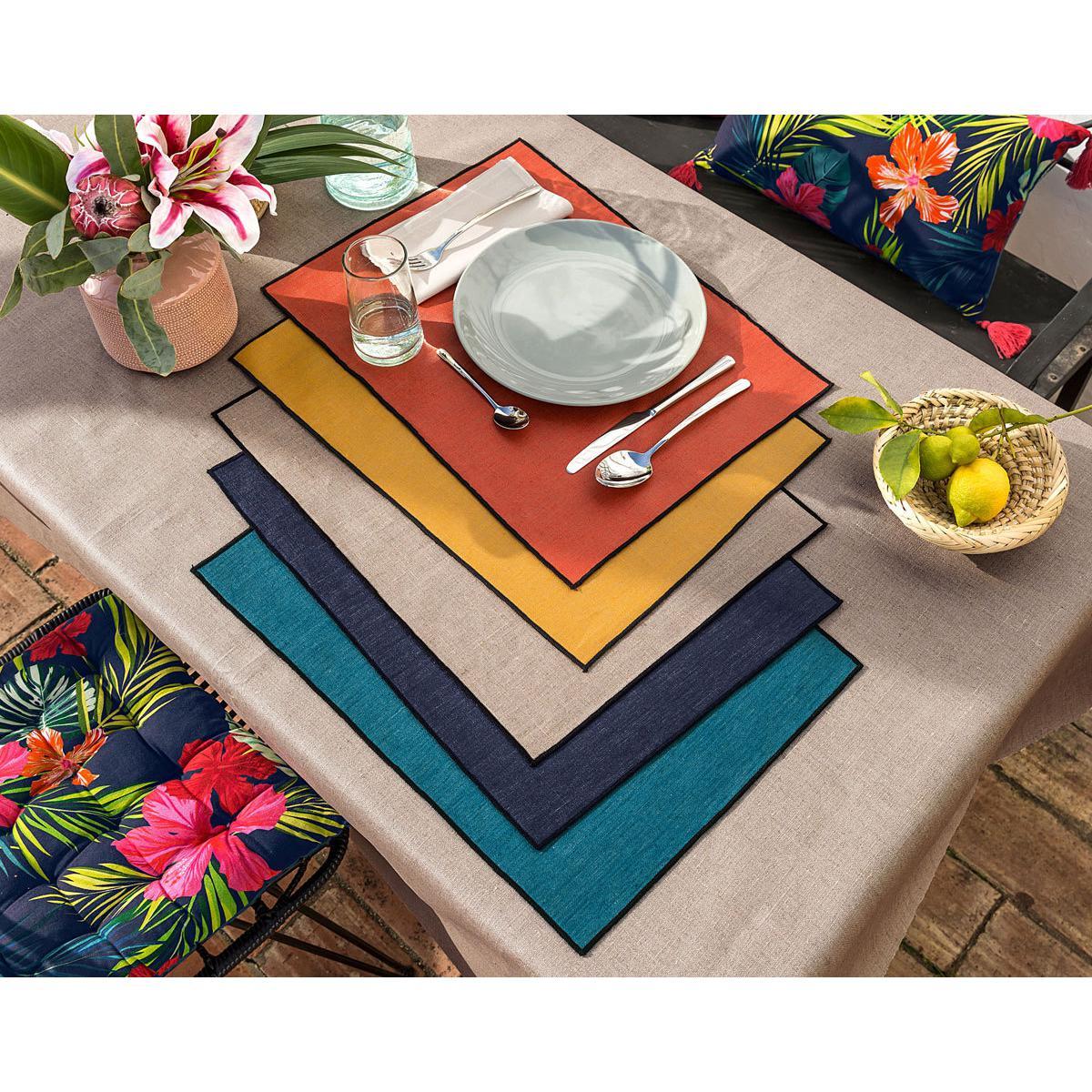 Lot de 10 sets de table BORGO - bleu canard