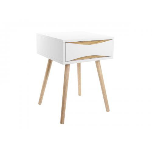 3S. x Home - Table de chevet TYAN scandinave 1 tiroir - Blanc et bois - Table de chevet
