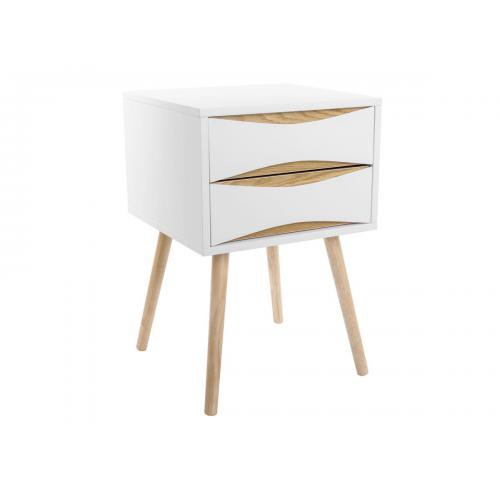 3S. x Home - Table de chevet TYAN scandinave 2 tiroirs - Blanc et bois - Table de chevet