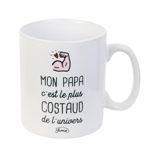 La Chaise Longue - Mug en Porcelaine Blanc avec inscription « Papa Le Plus Costaud » - Arts de la table