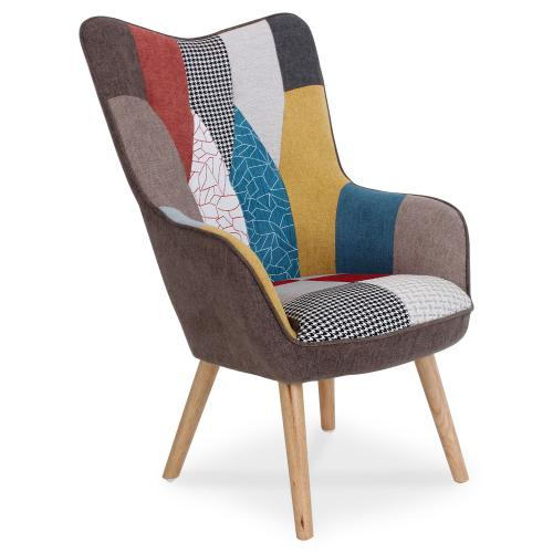 3S. x Home - Fauteuil scandinave Tissu Patchwork SYRLA - Meuble & Déco