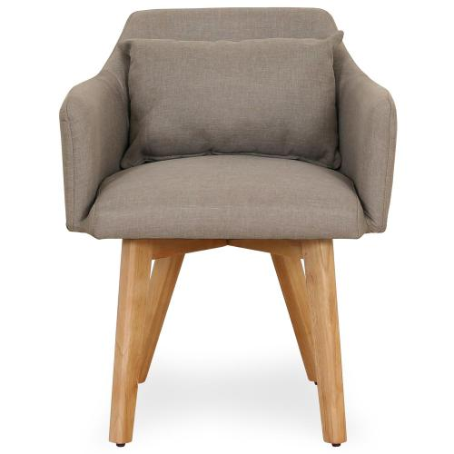 3S. x Home - Fauteuil Scandinave Tissu taupe SENDAT - Fauteuil