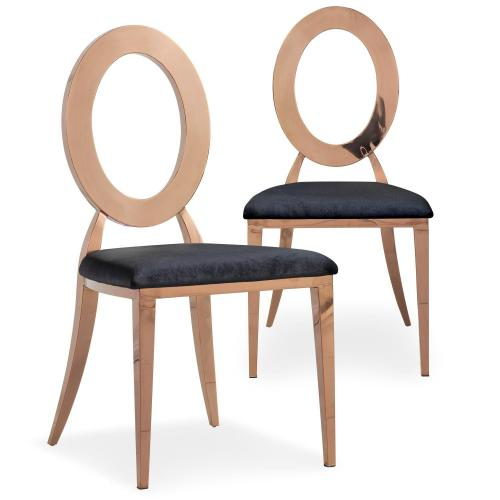 3S. x Home - Lot de 2 chaises métal or rose et velours noir NOISA - Chaise