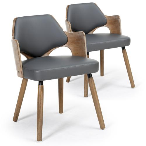 3S. x Home - Lot de 2 chaises scandinaves vintage gris MADI - Chaise