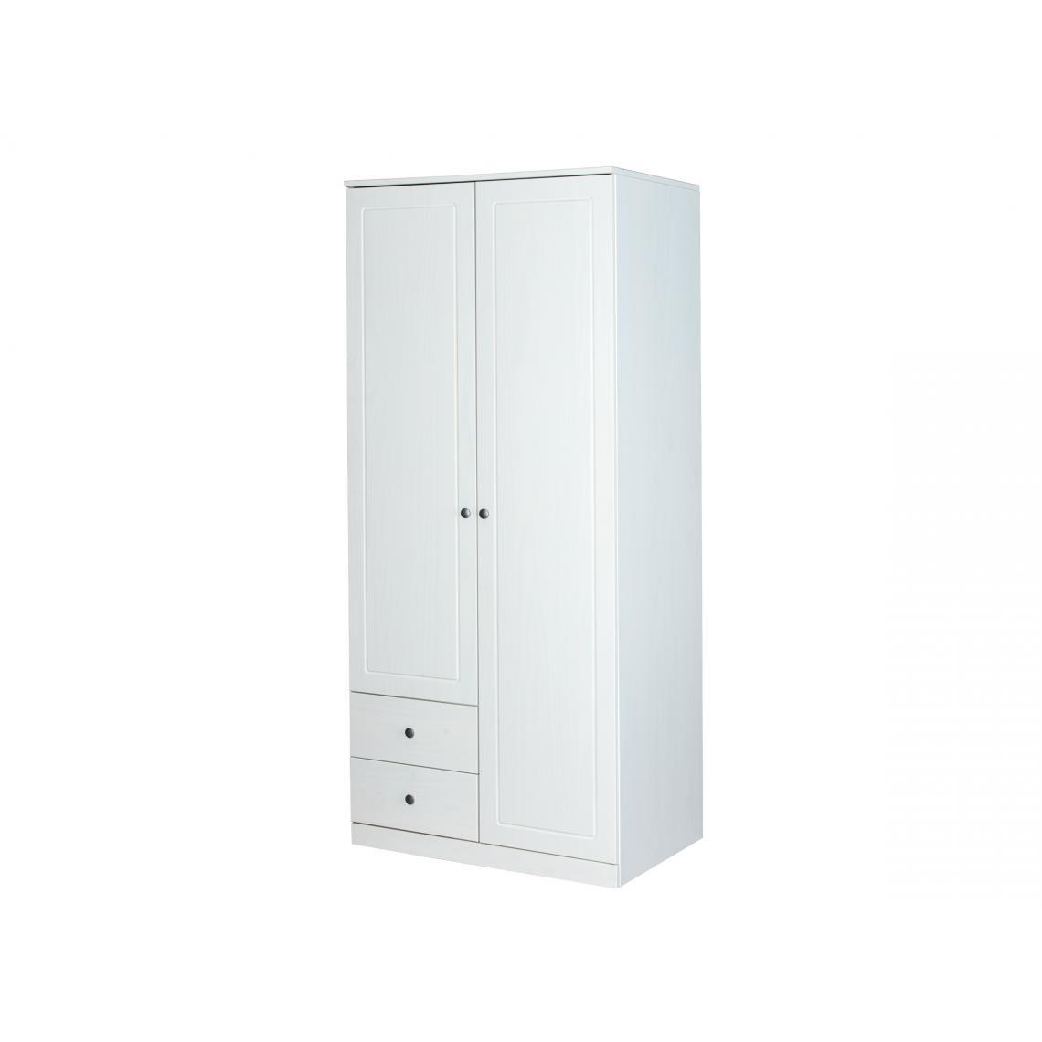 armoire penderie 2 portes en pin massif blanc rita  3 suisses