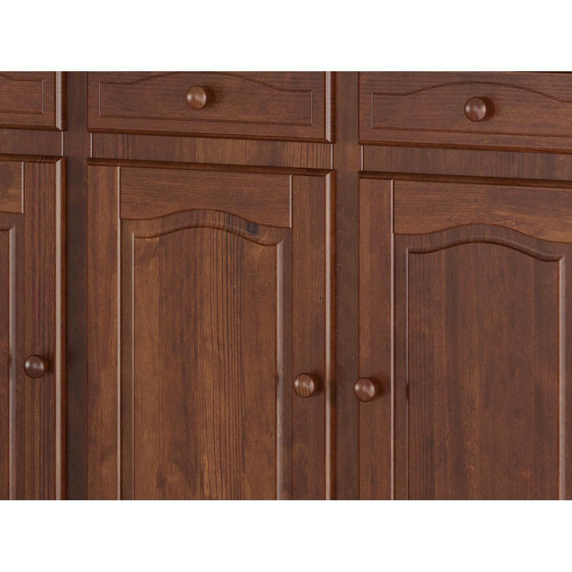 Bahut 3 tiroirs 3 portes en Pin Massif Mocca ALTIM qV5Ml