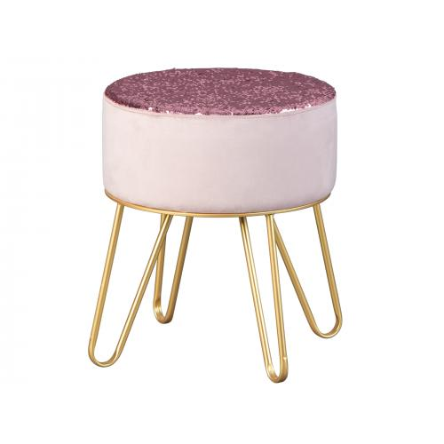 3S. x Home - Tabouret à Sequins Réversibles Velours Rose DIANA - Meuble & Déco
