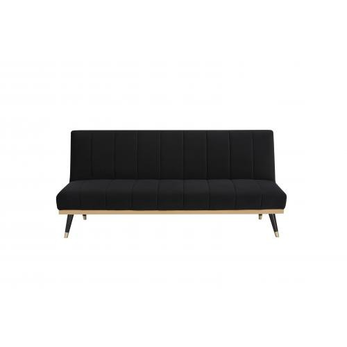 3S. x Home - Canapé convertible en velours noir - canapes 3 places
