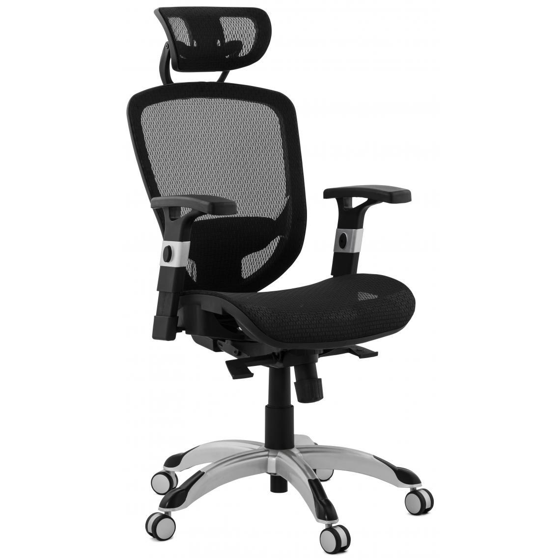 Chaise de bureau tissu noir design KYLE | 3 SUISSES