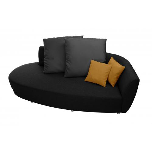 Florenzzi - Canapé 3 places Noir Anthracite Orange ROUNDO - Meuble & Déco