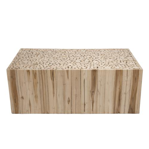 Macabane - Table basse rectangulaire bois nature en Teck - KAMIL - Table basse