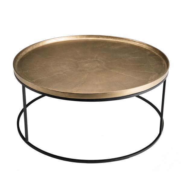 Table Basse Ronde 88cm Aluminium Dore Pieds Ronds Janet 3 Suisses