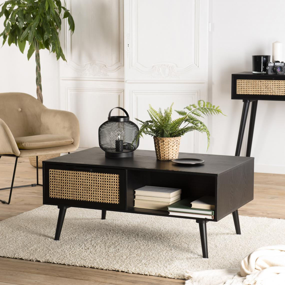 Table basse noire 2 tiroirs cannage 1 niche - MIKEL Ntxo2
