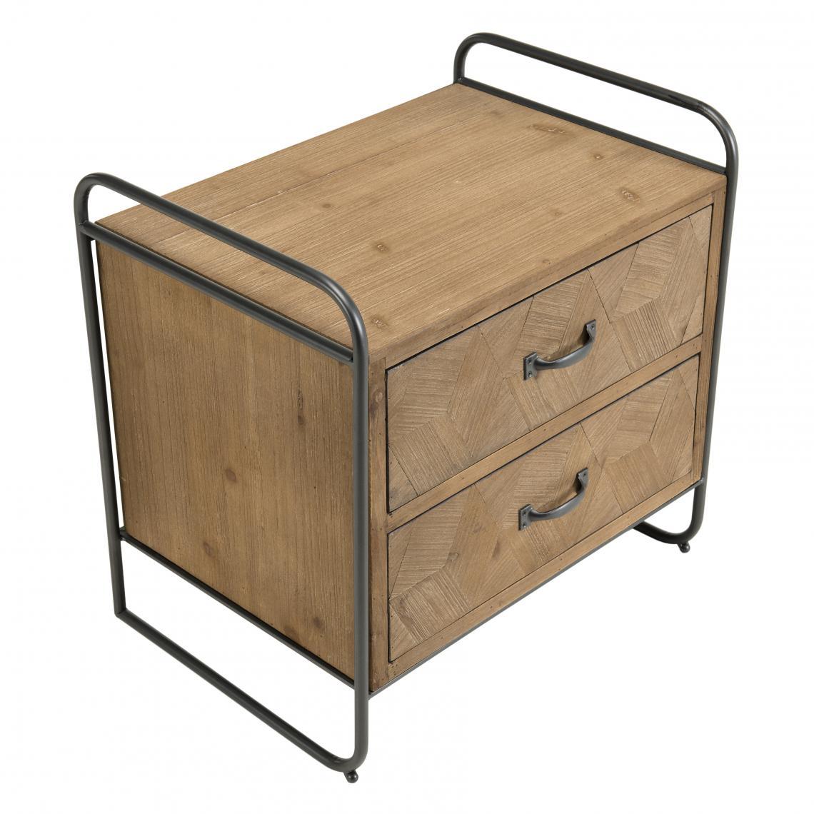Table de chevet 2 tiroirs en Sapin et pieds métal - ZELYA ivojZ