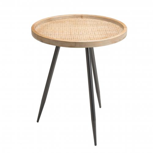 Macabane - Table d'appoint ronde cannage pieds métal - KORIA - Table basse