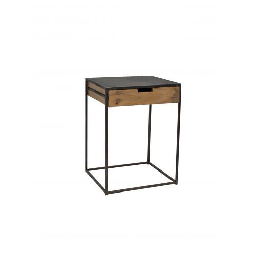 Table de chevet 1 tiroir bois naturel et métal GREENWICH Chehoma