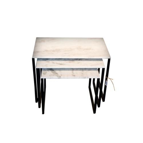 Chehoma - Lot de 3 tables d'appoint gigognes en marbre BOWERY - Table basse