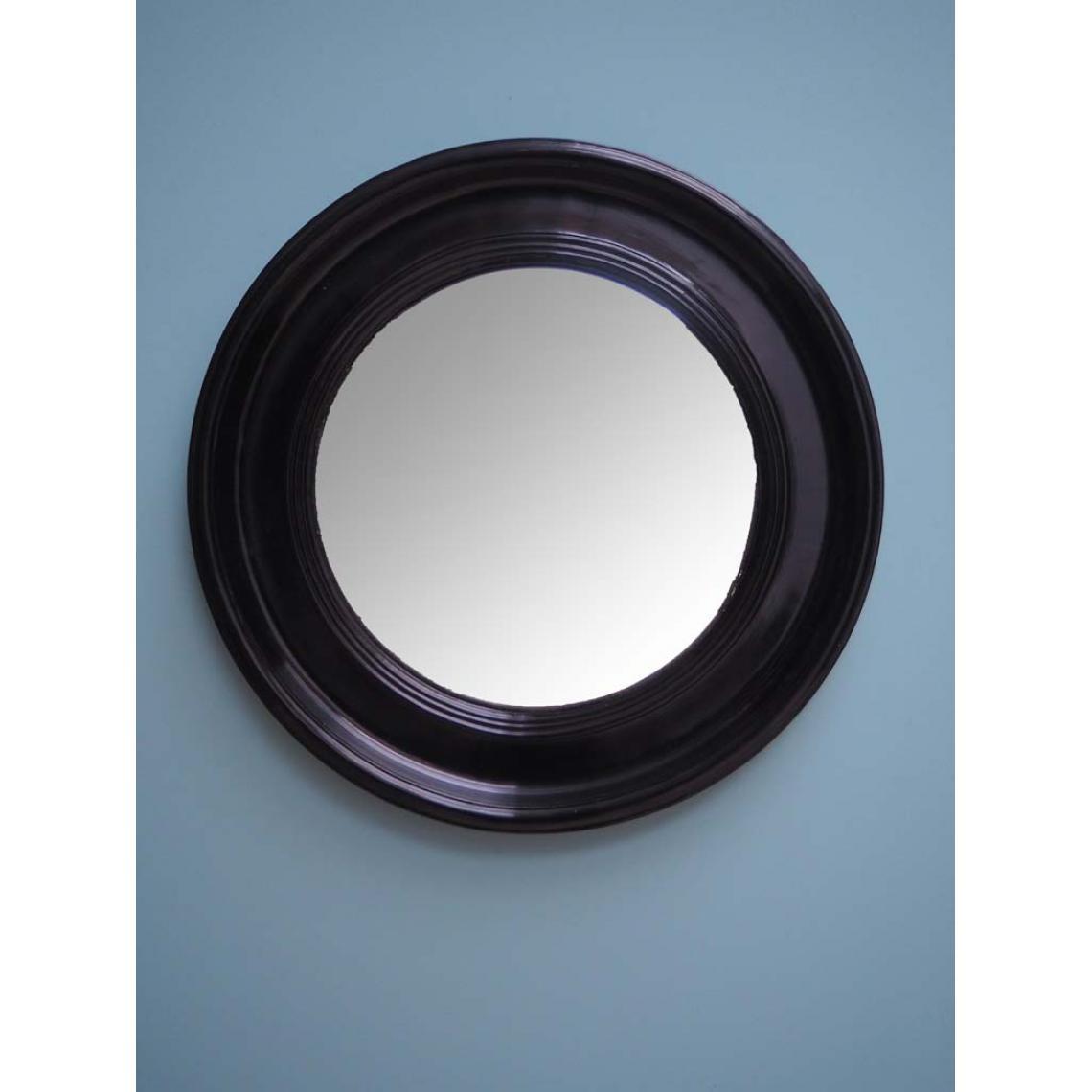Miroir rond laqué noir HOCE Tgf6o
