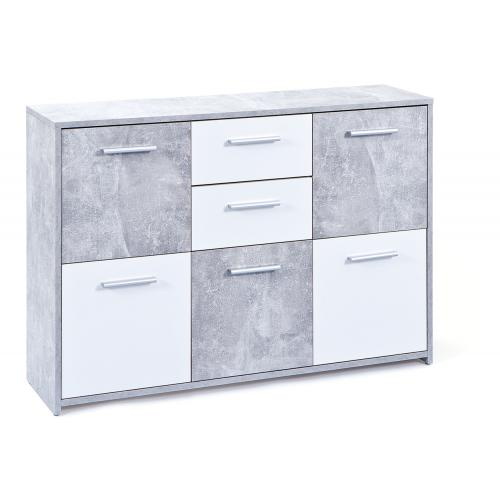 3S. x Home - Commode gris 5 portes RUGIUS - Commode