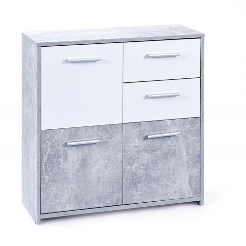3S. x Home - Commode gris 3 portes 2 tiroirs COLINA - Commode
