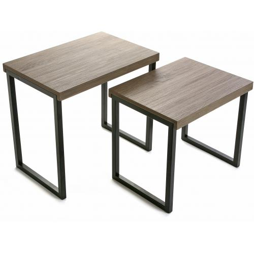 3 SUISSES - Set de 2 tables basses coloris chêne Dina - Le salon