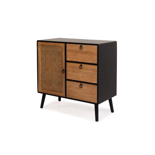3S. x Home - Cabinet 3 tiroirs Noir JIMMY - Commode