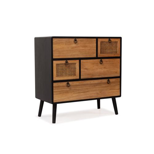 3S. x Home - Cabinet 5 tiroirs Noir JIMMY - Commode