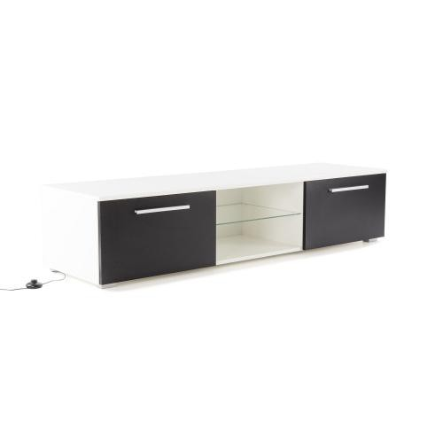 3S. x Home - Meuble TV Led Noir et Blanc ESIA - Table basse