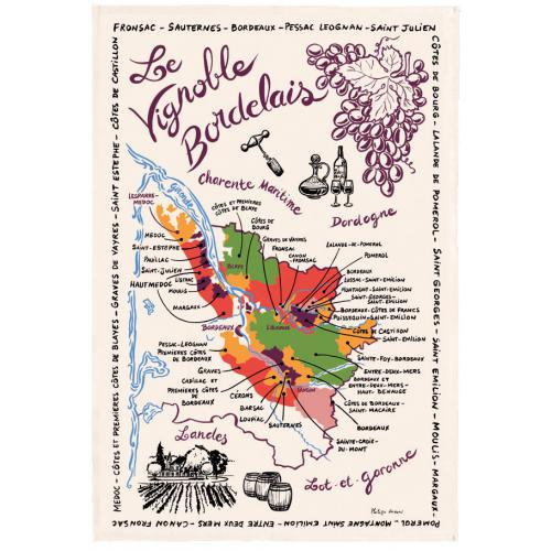 3S. x Home - Torchon Rectangulaire La Carte Des Bordeaux - Linge de table