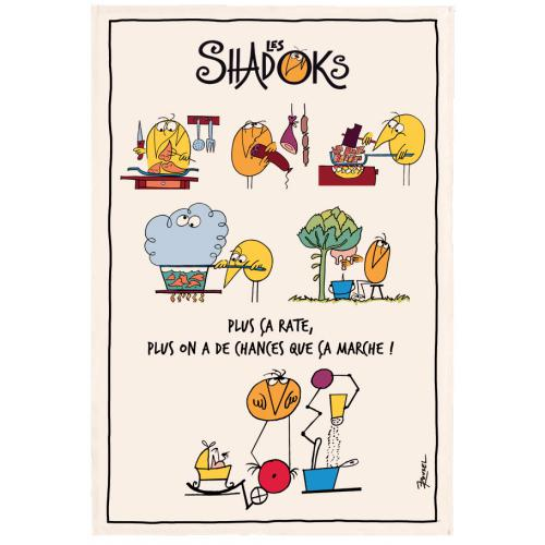 3S. x Home - Torchon Rectangulaire Shadoks en cuisine Ecru 48 x 72 - Linge de table