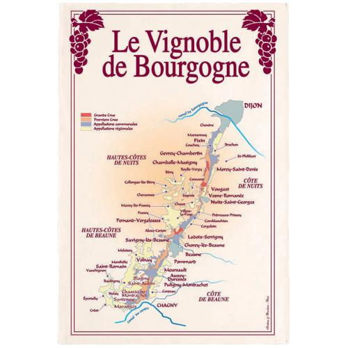 3S. x Home - Torchon coton Rectangulaire Vignoble Bourgogne - Linge de table
