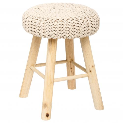 3S. x Home - Tabouret Beige STEPHY - Collection ethnique meuble deco