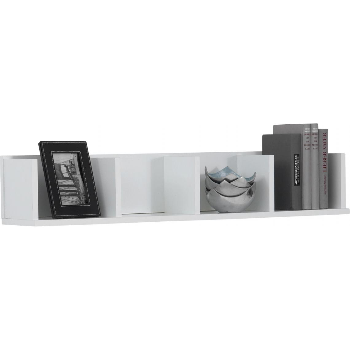 Etagere Murale Horizontale 4 Compartiments Blanc Cleo