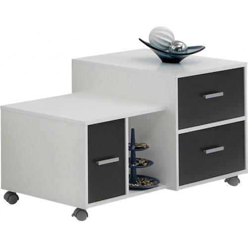 3S. x Home - Meuble ? roulettes blanc anthracite ROWAN - Dressing & rangement