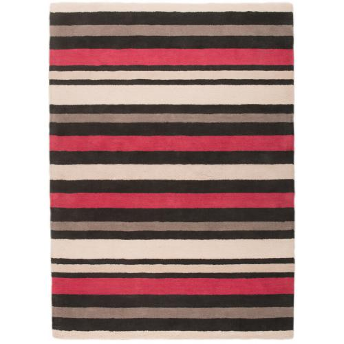 3S. x Home - Tapis 100% coton supersoft LUCIE 160X230 Noir et rouge - Tapis