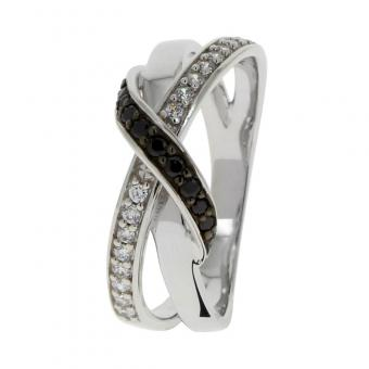 Balade Argentee - Bague White and black shines en Argent rhodié