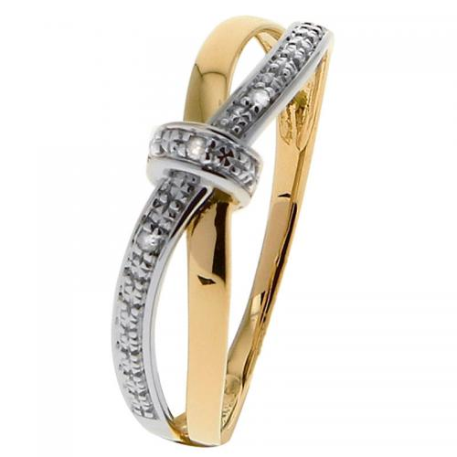 Or 9 Carats - Bague Or jaune et blanc 375 Diamant 09ZL66BB5 - Promotions