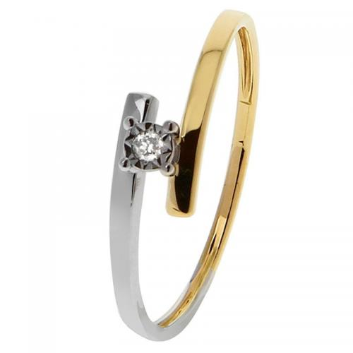 Or 9 Carats - Bague Or jaune et blanc 375 Diamant 09ZL78BB5 - Promotions