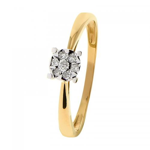 Or 9 Carats - Bague Or jaune et blanc 375 Diamant 09ZM22BB5 - Promotions