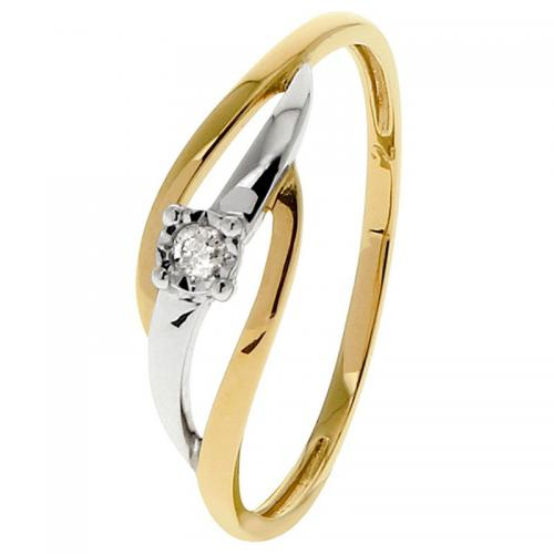 Or 9 Carats - Bague Or jaune et blanc 375 Diamant 09ZM61BB5 - Promotions