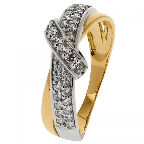 Or 9 Carats - Bague Or jaune et blanc 375 Zirconium 09SO13BZ - Promotions