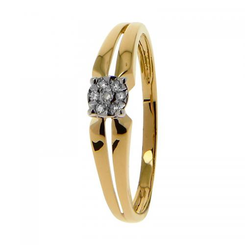 Or 9 Carats - Bague Or jaune et blanc 375 Diamant 09ZO36BB4 - Promotions