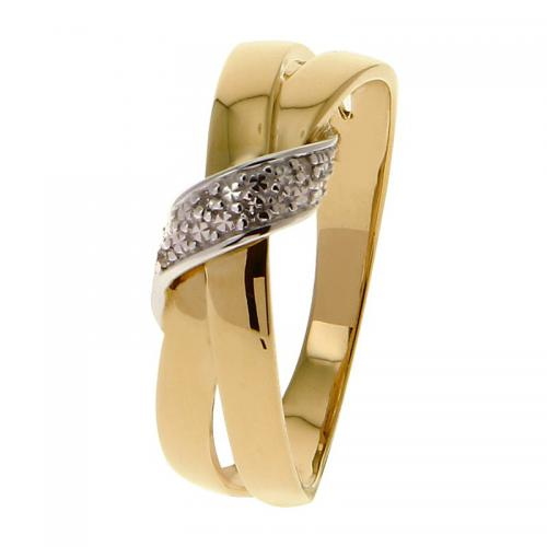 Or 9 Carats - Bague Or jaune et blanc 375 Diamant 09ZP58BB4 - Promotions