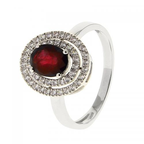 Or 9 Carats - Bague Or blanc 375 Rubis 09PO51GRT - Promotions