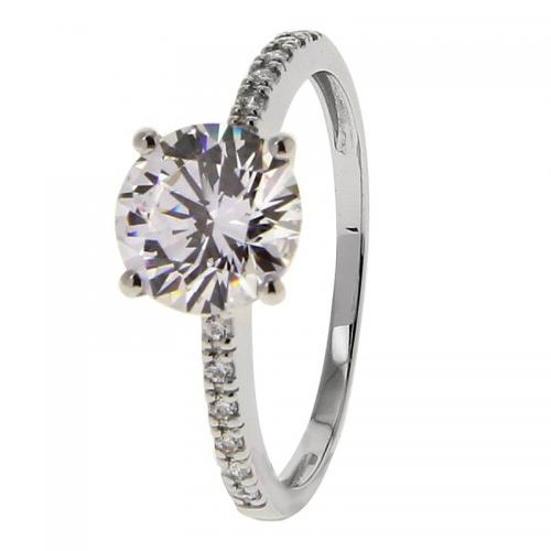 Or 9 Carats - Bague Or blanc 375 Zirconium 09SN28GZ - Promotions