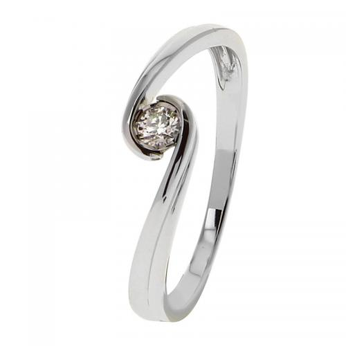 Or 9 Carats - Bague Or blanc 375 Diamant 09ZQ84GB4 - Bijoux