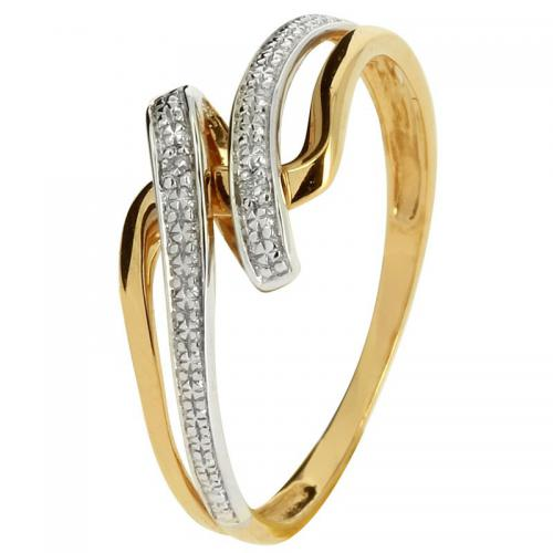 Or 9 Carats - Bague Or jaune et blanc 375 Diamant 09ZE87BB - Promotions